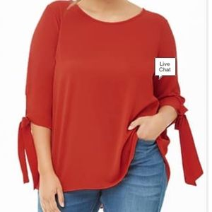 2/$20! Forever 21+ tomato red tie wrist blouse
